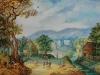 Paysage boisé avec village