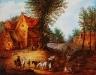 Voyageurs dans un village